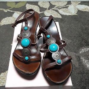 Bandoloino dark brown leather sandals